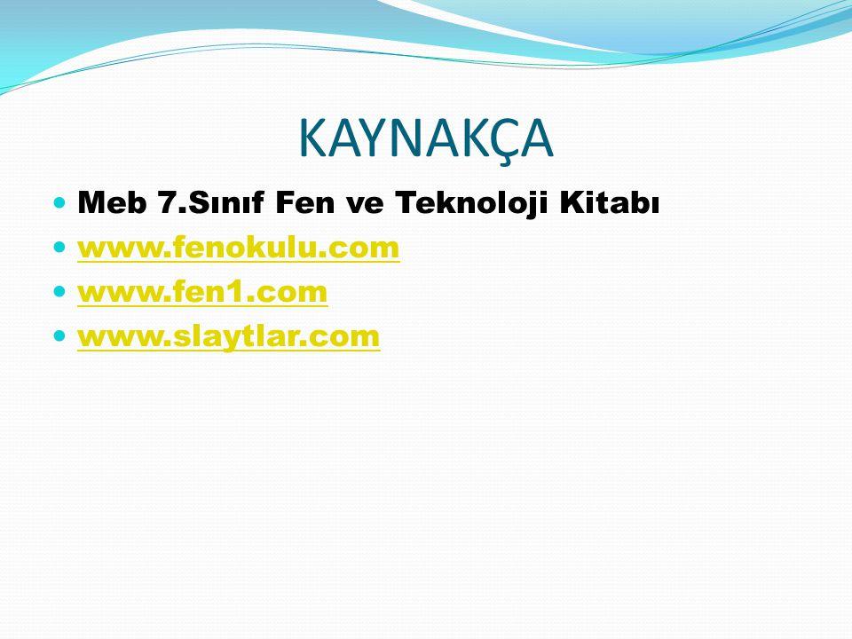 KAYNAKÇA Meb 7.Sınıf Fen ve Teknoloji Kitabı www.fenokulu.com www.fen1.com www.slaytlar.com