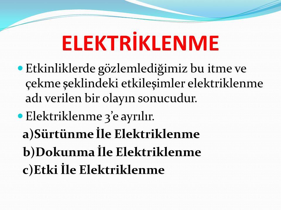 ELEKTRİKLENME Etkinliklerde gözlemlediğimiz bu itme ve çekme şeklindeki etkileşimler elektriklenme adı verilen bir olayın sonucudur. Elektriklenme 3'e