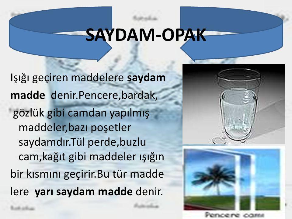 SAYDAM-OPAK Işığı geçiren maddelere saydam madde denir.Pencere,bardak, gözlük gibi camdan yapılmış maddeler,bazı poşetler saydamdır.Tül perde,buzlu ca