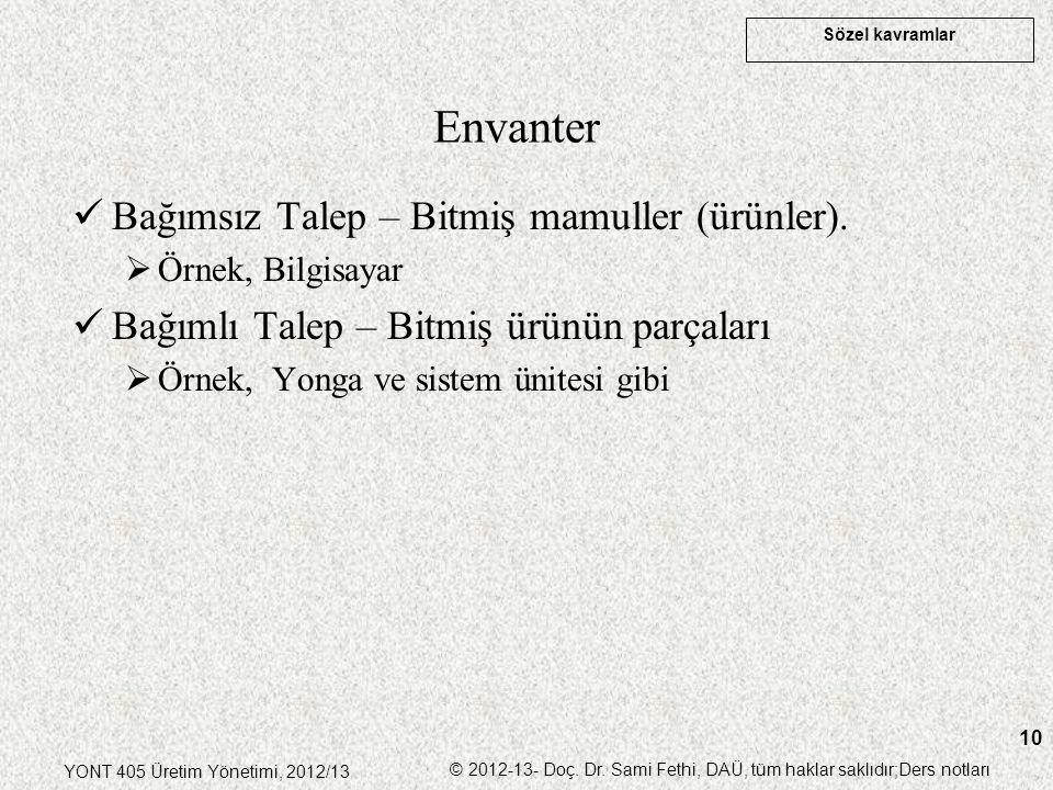 Sözel kavramlar YONT 405 Üretim Yönetimi, 2012/13 © 2012-13- Doç. Dr. Sami Fethi, DAÜ, tüm haklar saklıdır;Ders notları 10 Envanter Bağımsız Talep – B