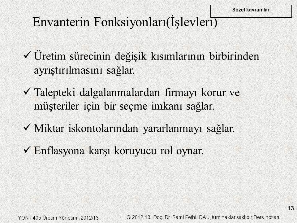 Sözel kavramlar YONT 405 Üretim Yönetimi, 2012/13 © 2012-13- Doç. Dr. Sami Fethi, DAÜ, tüm haklar saklıdır;Ders notları 13 Envanterin Fonksiyonları(İş