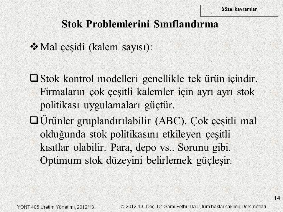 Sözel kavramlar YONT 405 Üretim Yönetimi, 2012/13 © 2012-13- Doç. Dr. Sami Fethi, DAÜ, tüm haklar saklıdır;Ders notları 14  Mal çeşidi (kalem sayısı)