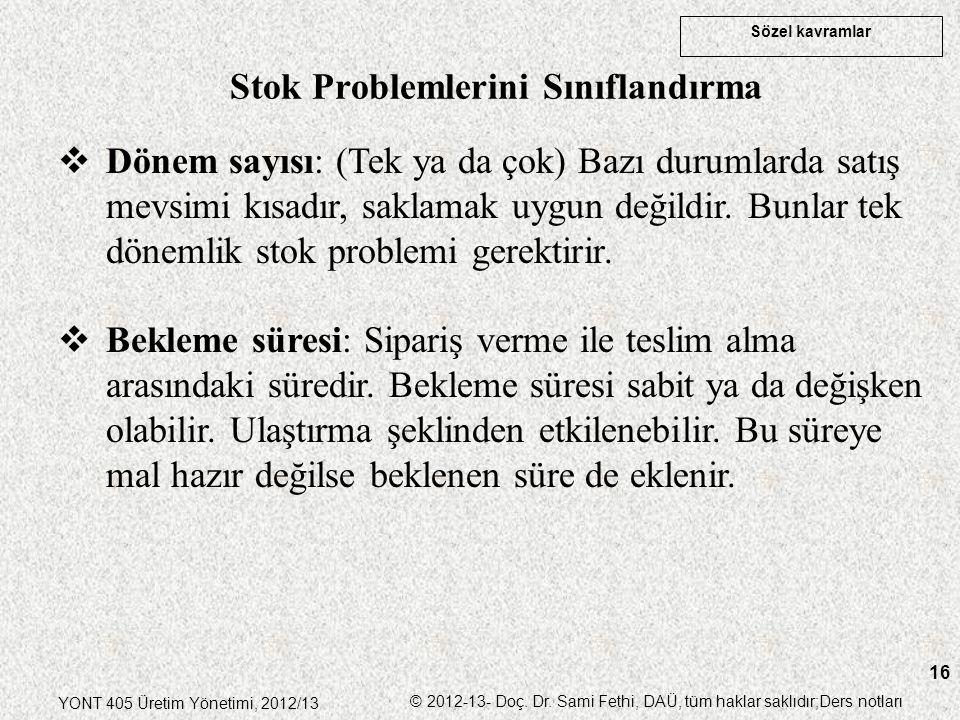Sözel kavramlar YONT 405 Üretim Yönetimi, 2012/13 © 2012-13- Doç. Dr. Sami Fethi, DAÜ, tüm haklar saklıdır;Ders notları 16  Dönem sayısı: (Tek ya da