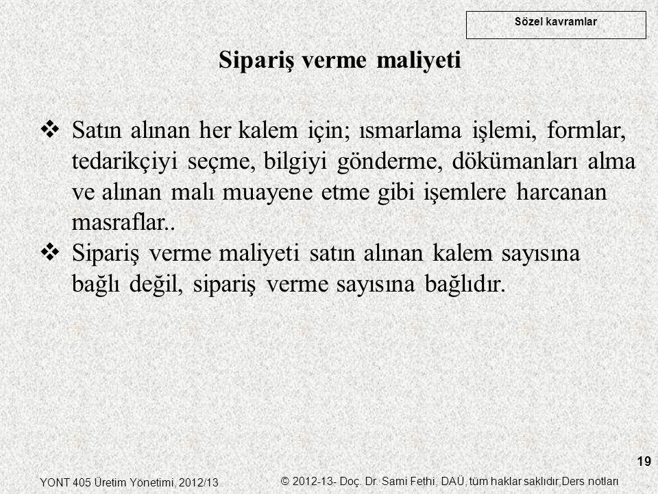Sözel kavramlar YONT 405 Üretim Yönetimi, 2012/13 © 2012-13- Doç. Dr. Sami Fethi, DAÜ, tüm haklar saklıdır;Ders notları 19  Satın alınan her kalem iç