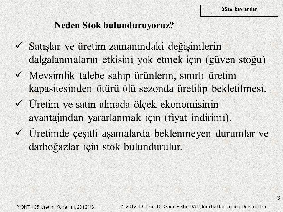 Sözel kavramlar YONT 405 Üretim Yönetimi, 2012/13 © 2012-13- Doç. Dr. Sami Fethi, DAÜ, tüm haklar saklıdır;Ders notları 3 Neden Stok bulunduruyoruz? S