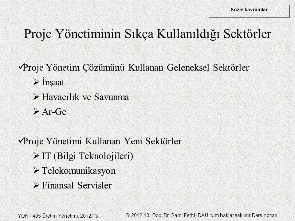 Sözel kavramlar YONT 405 Üretim Yönetimi, 2012/13 © 2012-13- Doç. Dr. Sami Fethi, DAÜ, tüm haklar saklıdır;Ders notları Proje Yönetiminin Sıkça Kullan