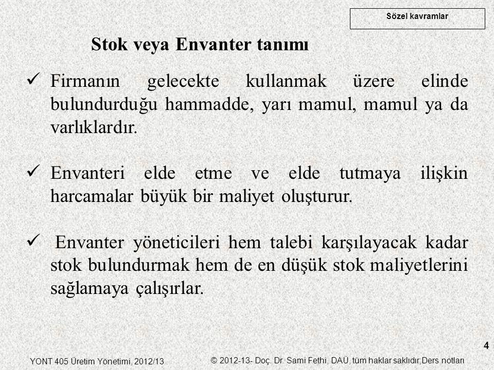 Sözel kavramlar YONT 405 Üretim Yönetimi, 2012/13 © 2012-13- Doç. Dr. Sami Fethi, DAÜ, tüm haklar saklıdır;Ders notları 4 Stok veya Envanter tanımı Fi
