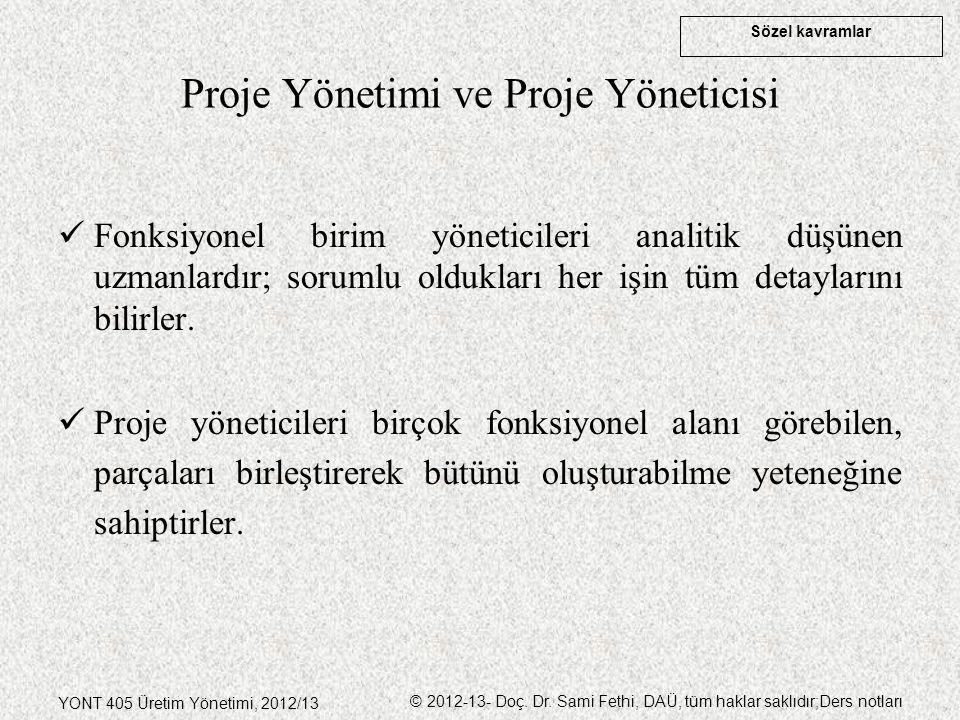 Sözel kavramlar YONT 405 Üretim Yönetimi, 2012/13 © 2012-13- Doç. Dr. Sami Fethi, DAÜ, tüm haklar saklıdır;Ders notları Proje Yönetimi ve Proje Yöneti