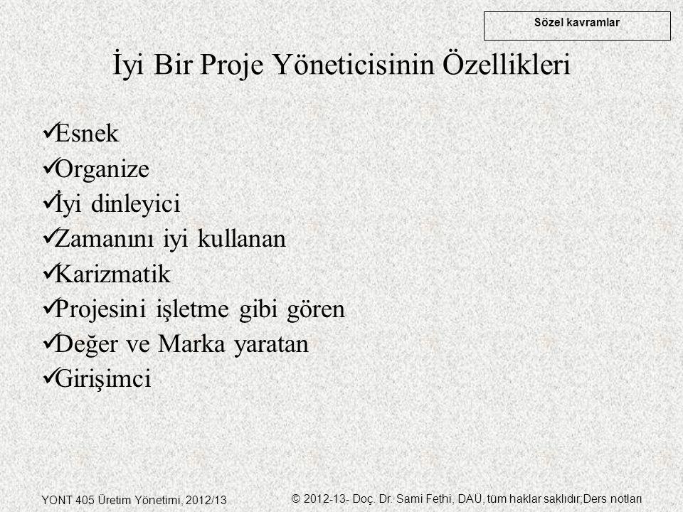 Sözel kavramlar YONT 405 Üretim Yönetimi, 2012/13 © 2012-13- Doç. Dr. Sami Fethi, DAÜ, tüm haklar saklıdır;Ders notları İyi Bir Proje Yöneticisinin Öz