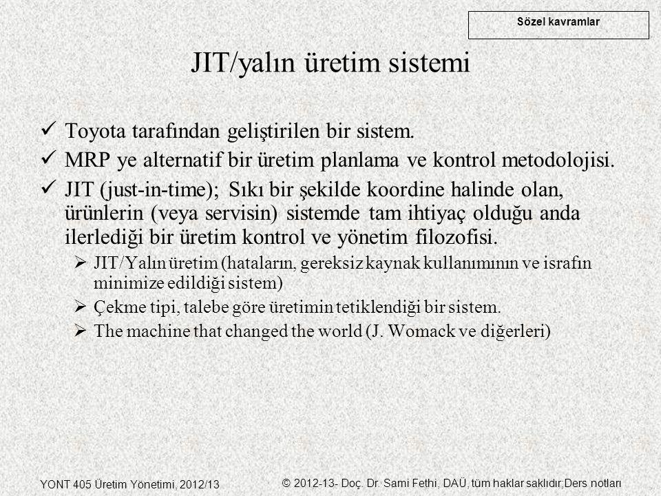 Sözel kavramlar YONT 405 Üretim Yönetimi, 2012/13 © 2012-13- Doç. Dr. Sami Fethi, DAÜ, tüm haklar saklıdır;Ders notları JIT/yalın üretim sistemi Toyot