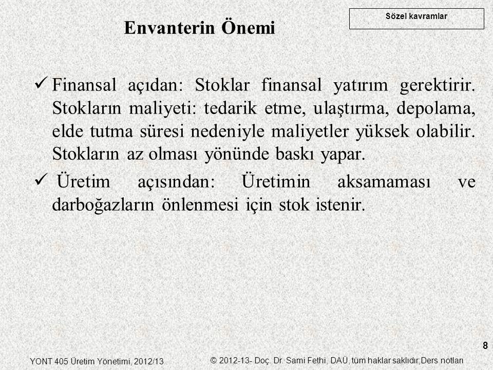 Sözel kavramlar YONT 405 Üretim Yönetimi, 2012/13 © 2012-13- Doç. Dr. Sami Fethi, DAÜ, tüm haklar saklıdır;Ders notları 8 Finansal açıdan: Stoklar fin