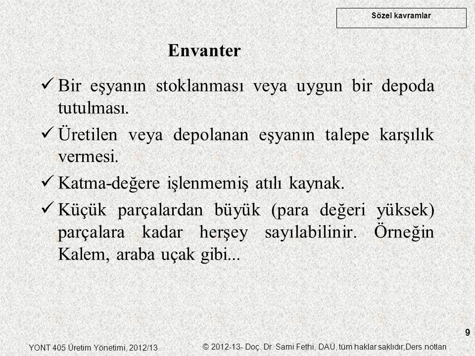 Sözel kavramlar YONT 405 Üretim Yönetimi, 2012/13 © 2012-13- Doç. Dr. Sami Fethi, DAÜ, tüm haklar saklıdır;Ders notları 9 Bir eşyanın stoklanması veya