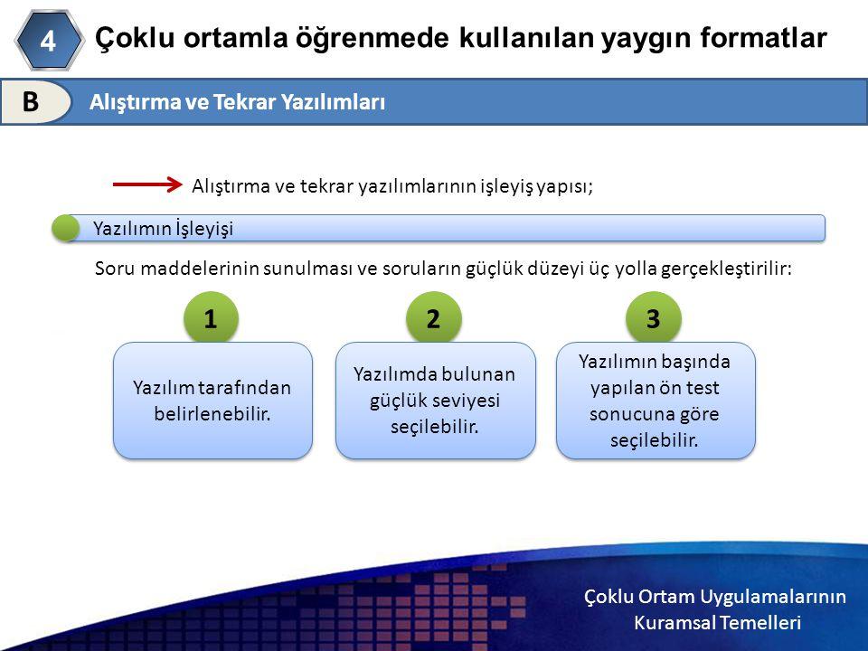 Çoklu Ortam Uygulamalarının Kuramsal Temelleri Çoklu ortamla öğrenmede kullanılan yaygın formatlar Alıştırma ve Tekrar Yazılımları 4 B Alıştırma ve te