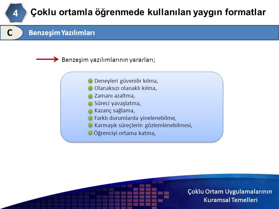 Çoklu Ortam Uygulamalarının Kuramsal Temelleri Çoklu ortamla öğrenmede kullanılan yaygın formatlar 4 C Benzeşim yazılımlarının yararları; Deneyleri gü