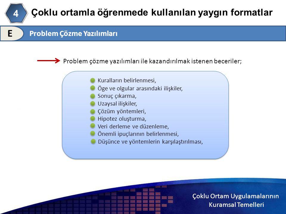 Çoklu Ortam Uygulamalarının Kuramsal Temelleri Çoklu ortamla öğrenmede kullanılan yaygın formatlar 4 E Problem çözme yazılımları ile kazandırılmak ist