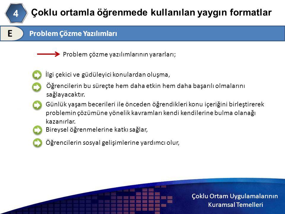 Çoklu Ortam Uygulamalarının Kuramsal Temelleri Çoklu ortamla öğrenmede kullanılan yaygın formatlar 4 E Problem çözme yazılımlarının yararları; İlgi çe