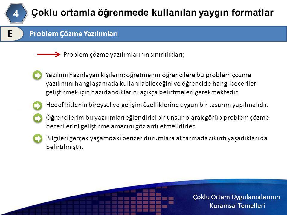 Çoklu Ortam Uygulamalarının Kuramsal Temelleri Çoklu ortamla öğrenmede kullanılan yaygın formatlar 4 E Problem çözme yazılımlarının sınırlılıkları; Ya