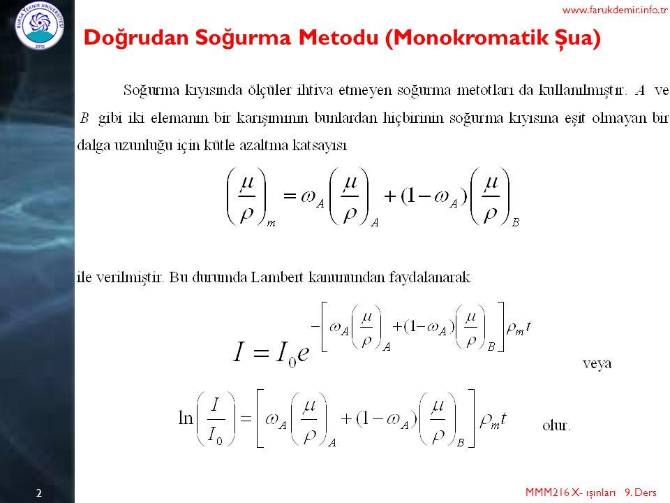 2 MMM216 X- ışınları 9. Ders www.farukdemir.info.tr Do ğ rudan So ğ urma Metodu (Monokromatik Şua)