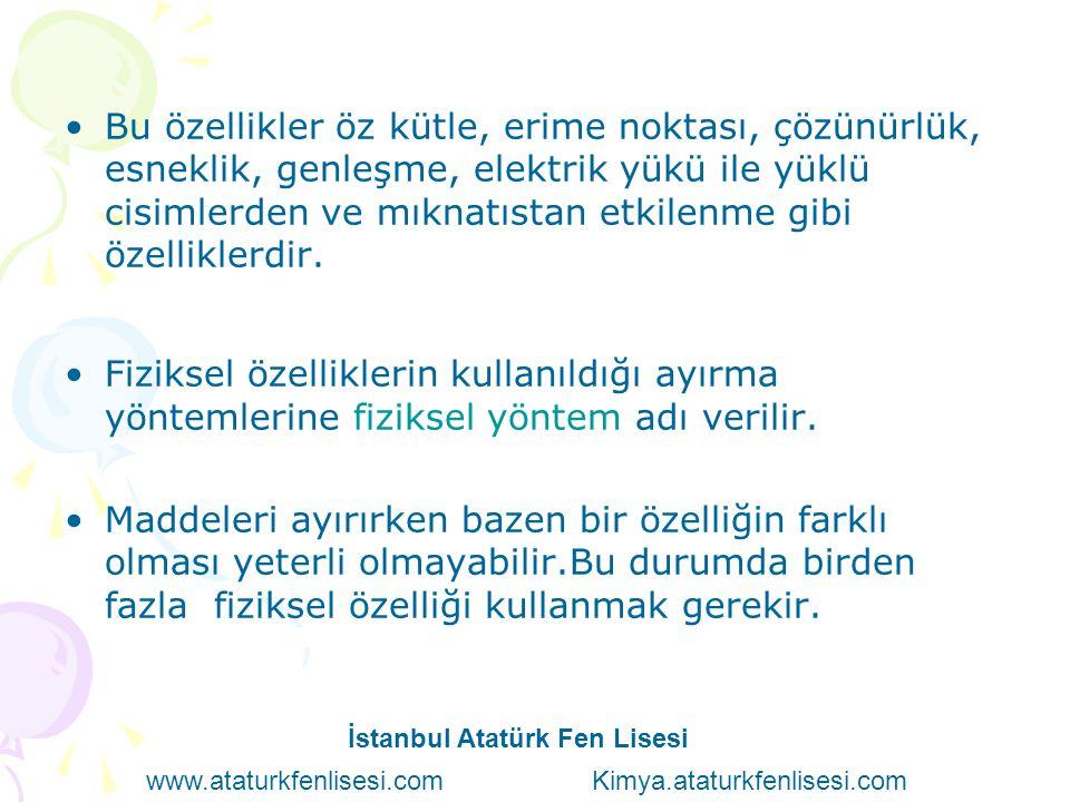 İ S T A N B U L A T A T Ü R K F E N L İ S E S İ E S R A E R S A N 9 - C 7 4 İstanbul Atatürk Fen Lisesi www.ataturkfenlisesi.com Kimya.ataturkfenlisesi.com
