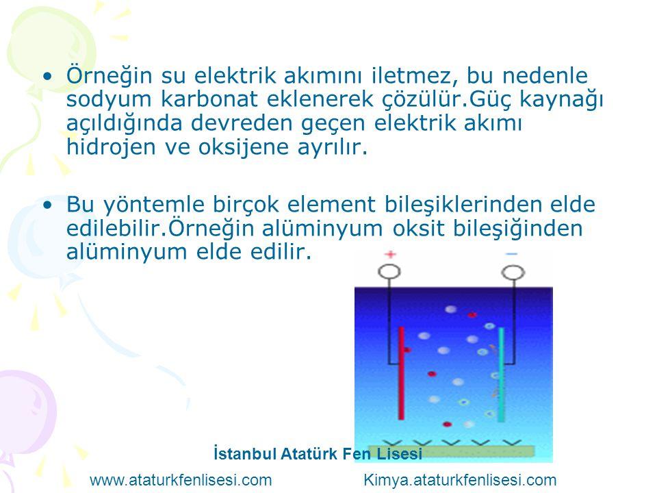 Örneğin su elektrik akımını iletmez, bu nedenle sodyum karbonat eklenerek çözülür.Güç kaynağı açıldığında devreden geçen elektrik akımı hidrojen ve ok