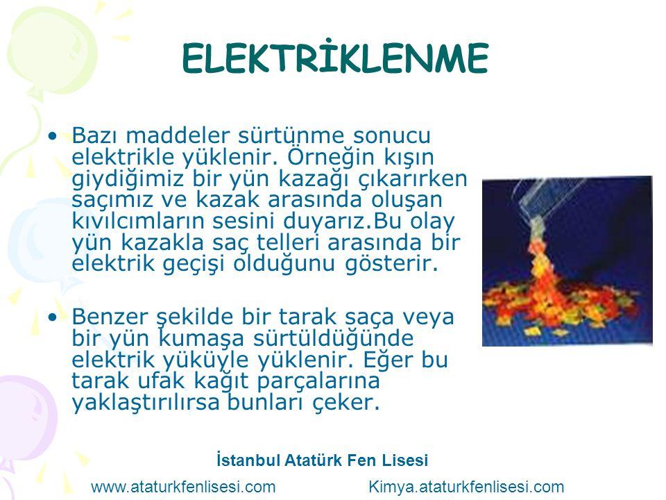 ELEKTRİKLENME Bazı maddeler sürtünme sonucu elektrikle yüklenir. Örneğin kışın giydiğimiz bir yün kazağı çıkarırken saçımız ve kazak arasında oluşan k
