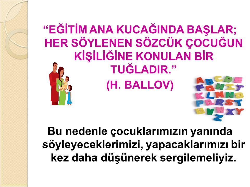 """""""EĞİTİM ANA KUCAĞINDA BAŞLAR; HER SÖYLENEN SÖZCÜK ÇOCUĞUN KİŞİLİĞİNE KONULAN BİR TUĞLADIR."""" (H. BALLOV) Bu nedenle çocuklarımızın yanında söyleyecekle"""