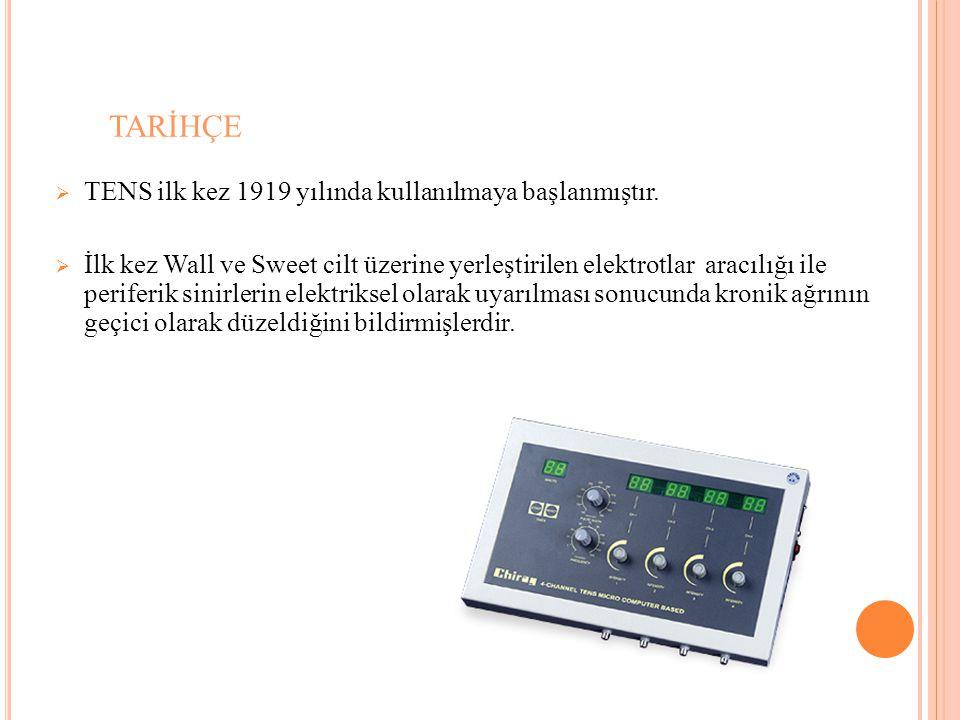 TARİHÇE  TENS ilk kez 1919 yılında kullanılmaya başlanmıştır.  İlk kez Wall ve Sweet cilt üzerine yerleştirilen elektrotlar aracılığı ile periferik