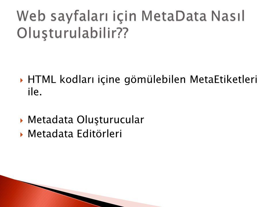  HTML kodları içine gömülebilen MetaEtiketleri ile.  Metadata Oluşturucular  Metadata Editörleri