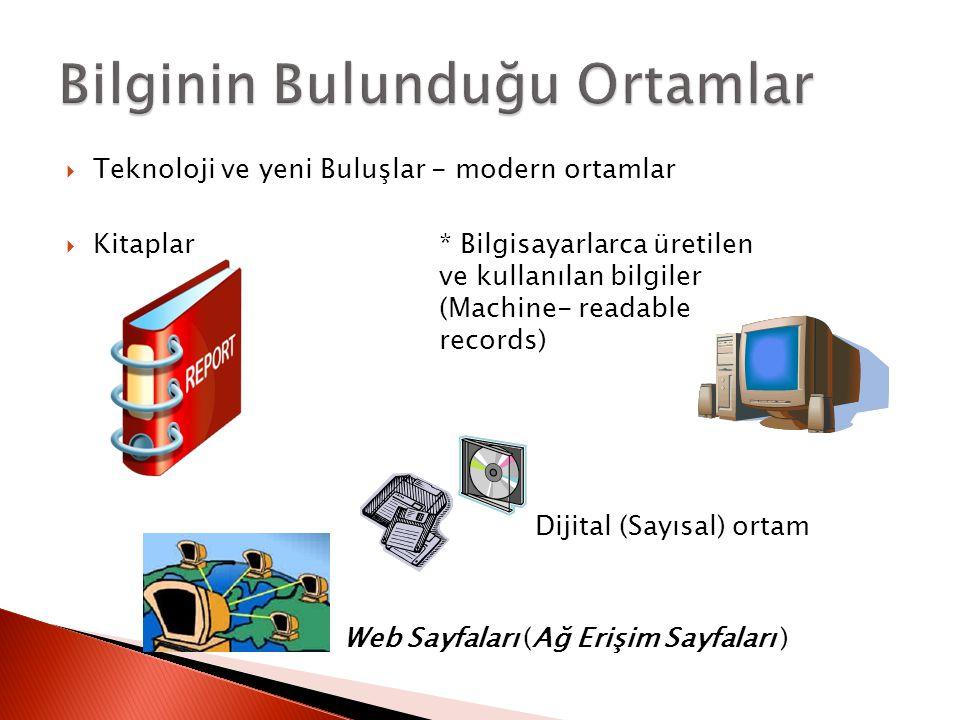  Teknoloji ve yeni Buluşlar - modern ortamlar  Kitaplar* Bilgisayarlarca üretilen ve kullanılan bilgiler (Machine- readable records) Dijital (Sayısa