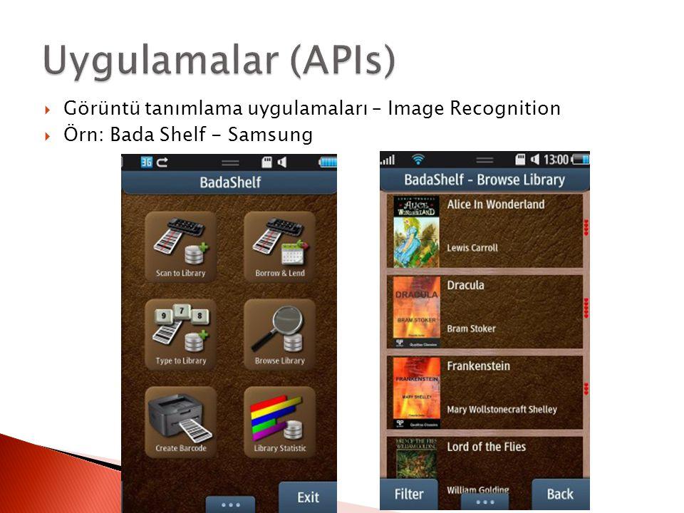  Görüntü tanımlama uygulamaları – Image Recognition  Örn: Bada Shelf - Samsung