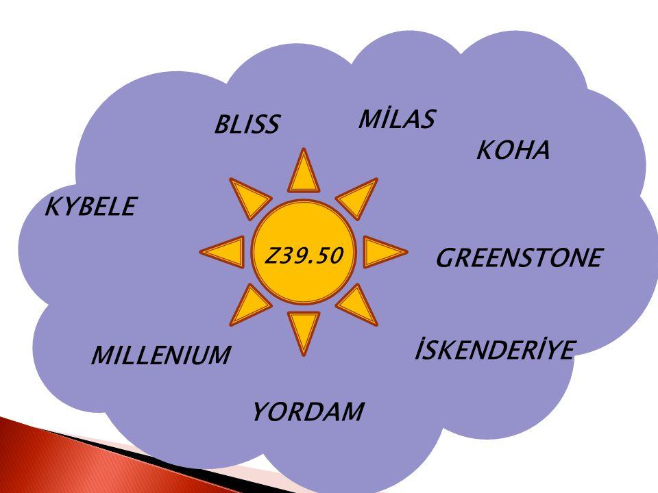 BLISS KOHA İSKENDERİYE KYBELE MILLENIUM MİLAS YORDAM GREENSTONE Z39.50