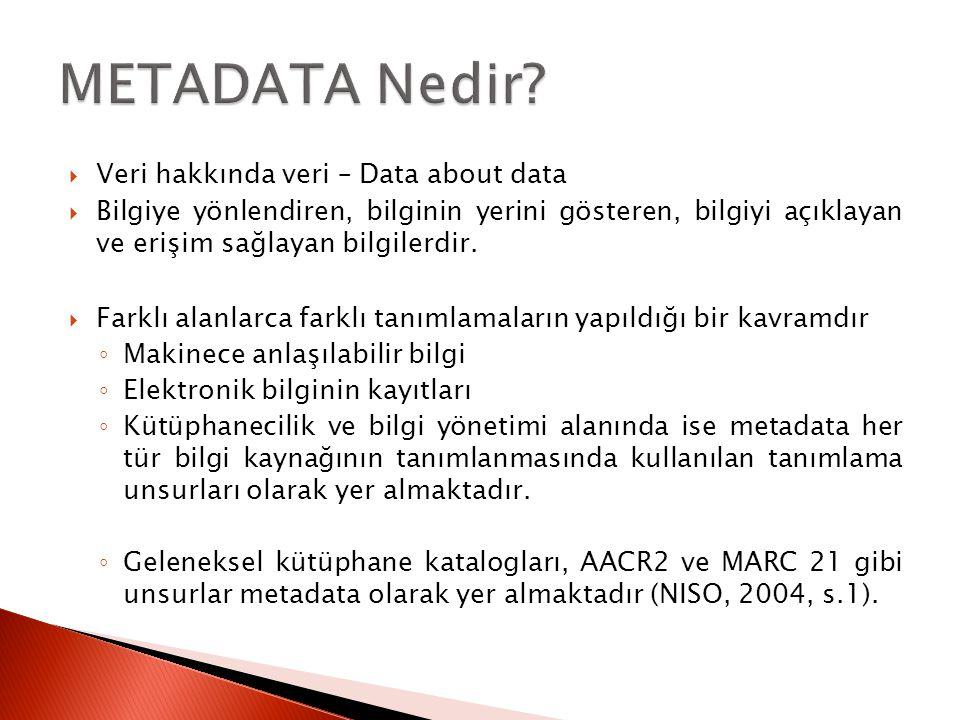  Veri hakkında veri – Data about data  Bilgiye yönlendiren, bilginin yerini gösteren, bilgiyi açıklayan ve erişim sağlayan bilgilerdir.  Farklı ala