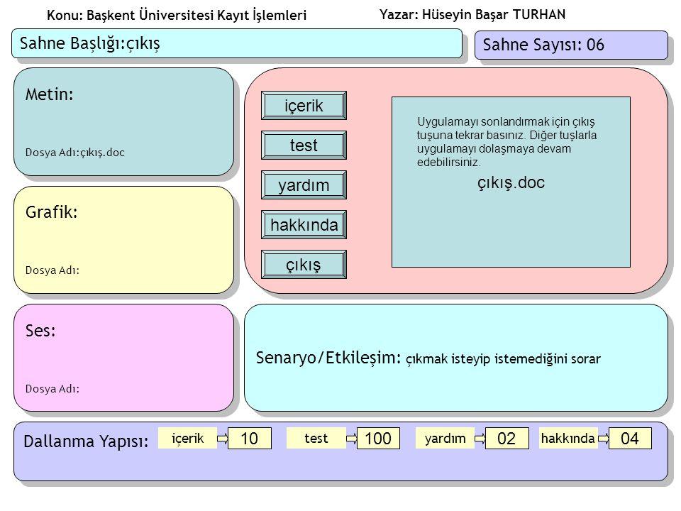 Yazar: Hüseyin Başar TURHAN Konu: Başkent Üniversitesi Kayıt İşlemleri Metin: Dosya Adı: Metin: Dosya Adı: Ses: Dosya Adı:web.mp3 Ses: Dosya Adı:web.mp3 Grafik: Dosya Adı:web.swf Grafik: Dosya Adı:web.swf Senaryo/Etkileşim: web.swf dosyasında bir web tarayıcısı simulasyonu olacak,karakterimiz üniversite sayfasında dolaşırken web.mp3 dosyamızan karakterimizin o an yaptığı Konuşmalar çalacak Senaryo/Etkileşim: web.swf dosyasında bir web tarayıcısı simulasyonu olacak,karakterimiz üniversite sayfasında dolaşırken web.mp3 dosyamızan karakterimizin o an yaptığı Konuşmalar çalacak Dallanma Yapısı: Sahne Başlığı:konu1 Sahne Sayısı: 10 konu5 50 konu6 60 ana_menu 00 konu1 10 konu2 20 konu3 30 konu4 40 ana_menu konu1 konu2 konu3 konu4 konu5 konu6 Web.swf