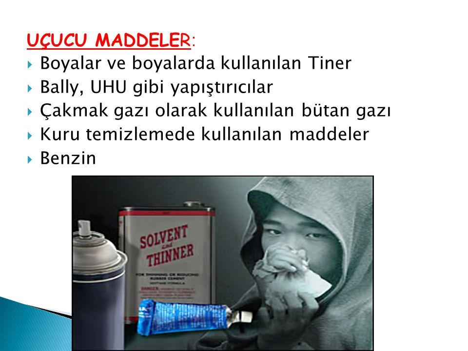 UÇUCU MADDELER :  Boyalar ve boyalarda kullanılan Tiner  Bally, UHU gibi yapıştırıcılar  Çakmak gazı olarak kullanılan bütan gazı  Kuru temizlemed