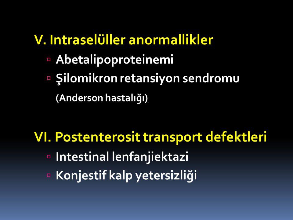 V. Intraselüller anormallikler  Abetalipoproteinemi  Şilomikron retansiyon sendromu (Anderson hastalığı) VI. Postenterosit transport defektleri  In