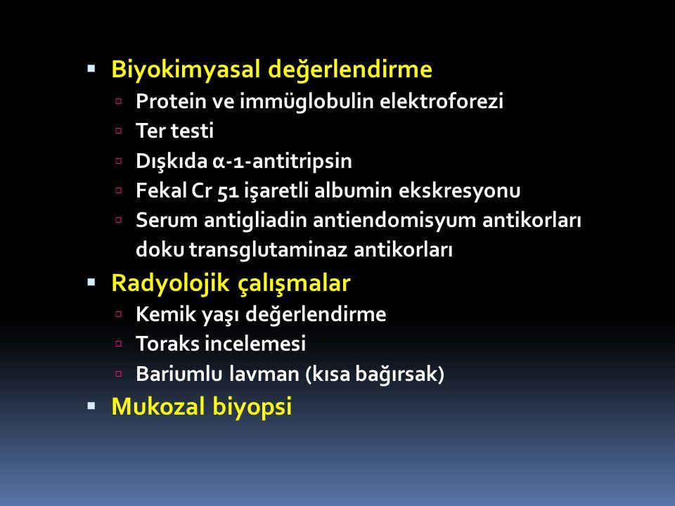  Biyokimyasal değerlendirme  Protein ve immüglobulin elektroforezi  Ter testi  Dışkıda α-1-antitripsin  Fekal Cr 51 işaretli albumin ekskresyonu  Serum antigliadin antiendomisyum antikorları doku transglutaminaz antikorları  Radyolojik çalışmalar  Kemik yaşı değerlendirme  Toraks incelemesi  Bariumlu lavman (kısa bağırsak)  Mukozal biyopsi