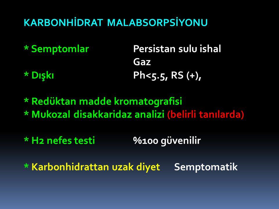 KARBONHİDRAT MALABSORPSİYONU * SemptomlarPersistan sulu ishal Gaz * DışkıPh<5.5, RS (+), * Redüktan madde kromatografisi * Mukozal disakkaridaz analizi (belirli tanılarda) * H2 nefes testi%100 güvenilir * Karbonhidrattan uzak diyet Semptomatik