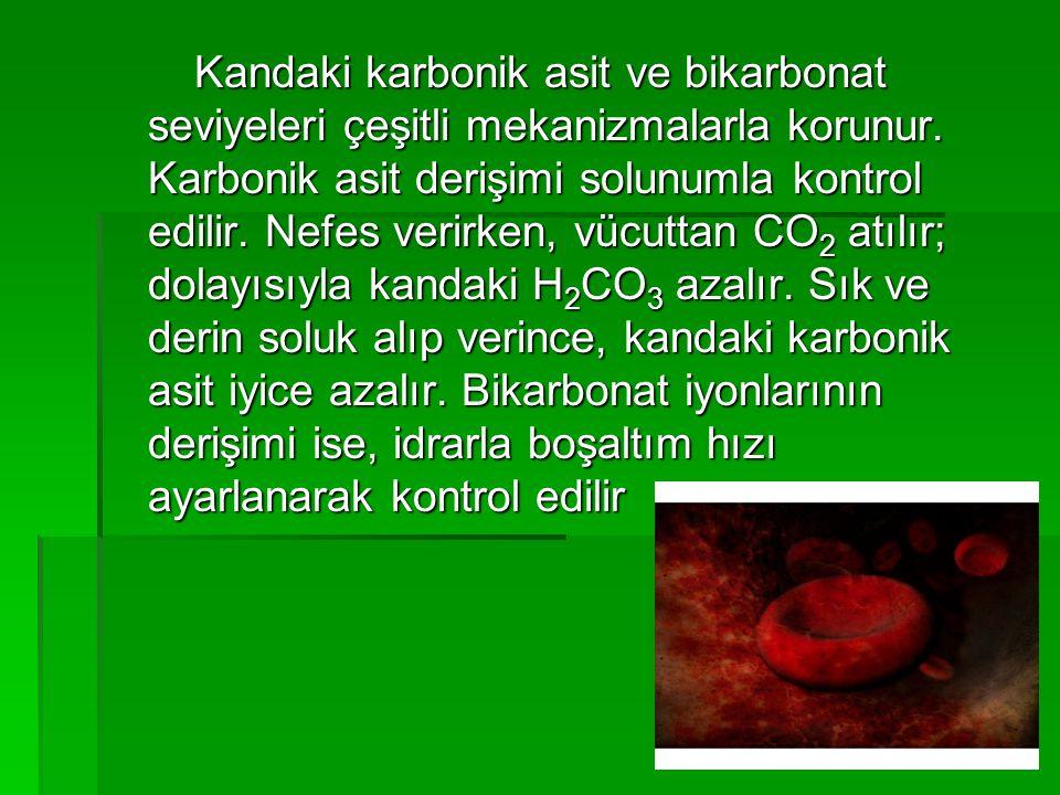 Kandaki karbonik asit ve bikarbonat seviyeleri çeşitli mekanizmalarla korunur. Karbonik asit derişimi solunumla kontrol edilir. Nefes verirken, vücutt