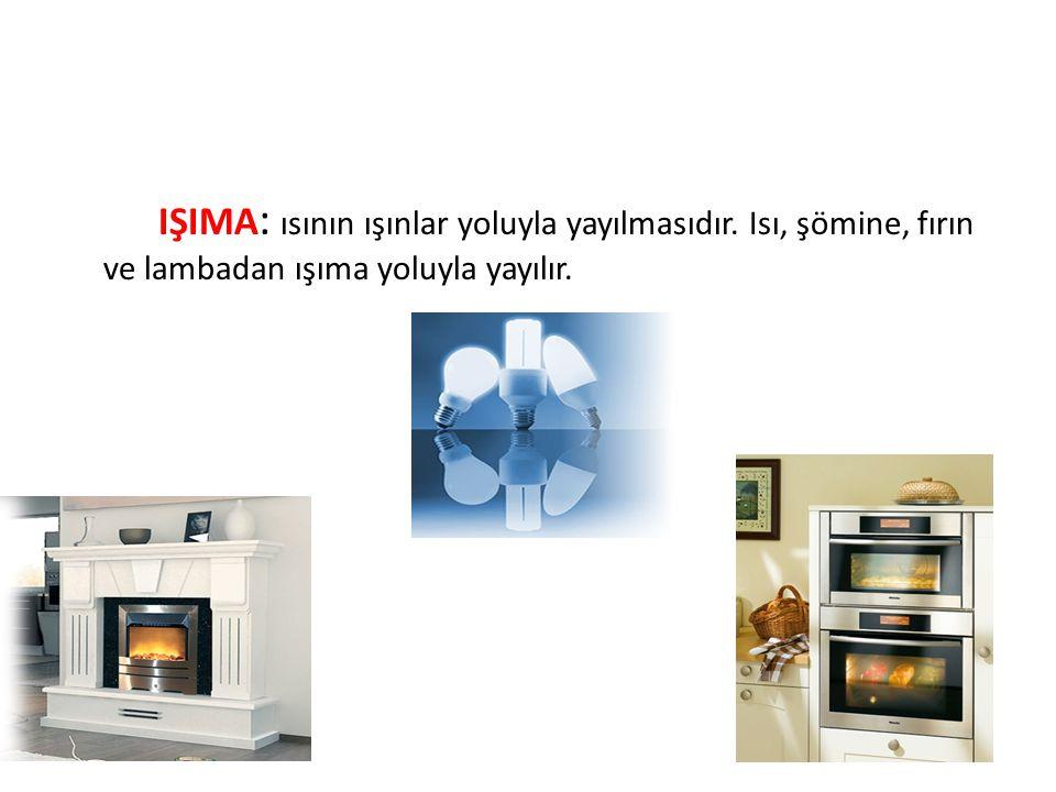 IŞIMA : ısının ışınlar yoluyla yayılmasıdır. Isı, şömine, fırın ve lambadan ışıma yoluyla yayılır.
