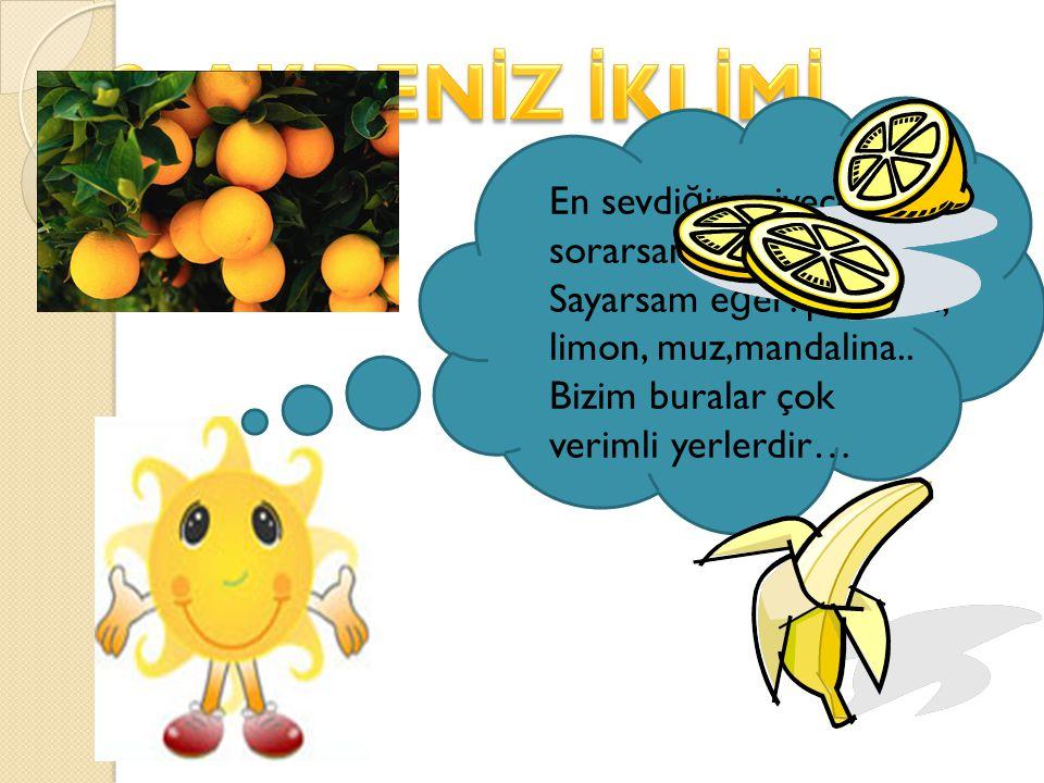 En sevdi ğ im yiyecekleri sorarsanız e ğ er. Şey… Sayarsam e ğ er: portakal, limon, muz,mandalina.. Bizim buralar çok verimli yerlerdir…