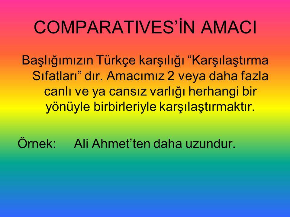 """COMPARATIVES'İN AMACI Başlığımızın Türkçe karşılığı """"Karşılaştırma Sıfatları"""" dır. Amacımız 2 veya daha fazla canlı ve ya cansız varlığı herhangi bir"""