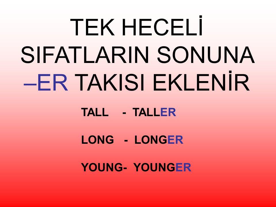 TEK HECELİ SIFATLARIN SONUNA –ER TAKISI EKLENİR TALL - TALLER LONG - LONGER YOUNG- YOUNGER