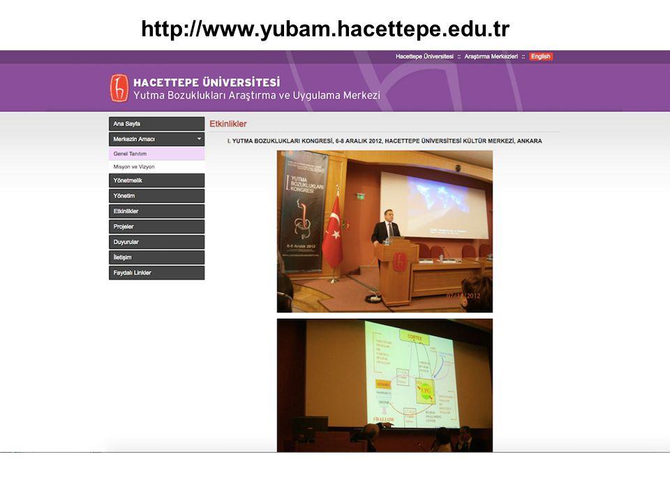 -Hacettepe Üniversitesi YUBAM- Hacettepe Üniversitesi Fizyoterapi Bölümü- SGK iş birliği -Projenin amacı; yutma bozuklukları konusunda uzman eğitimidir.