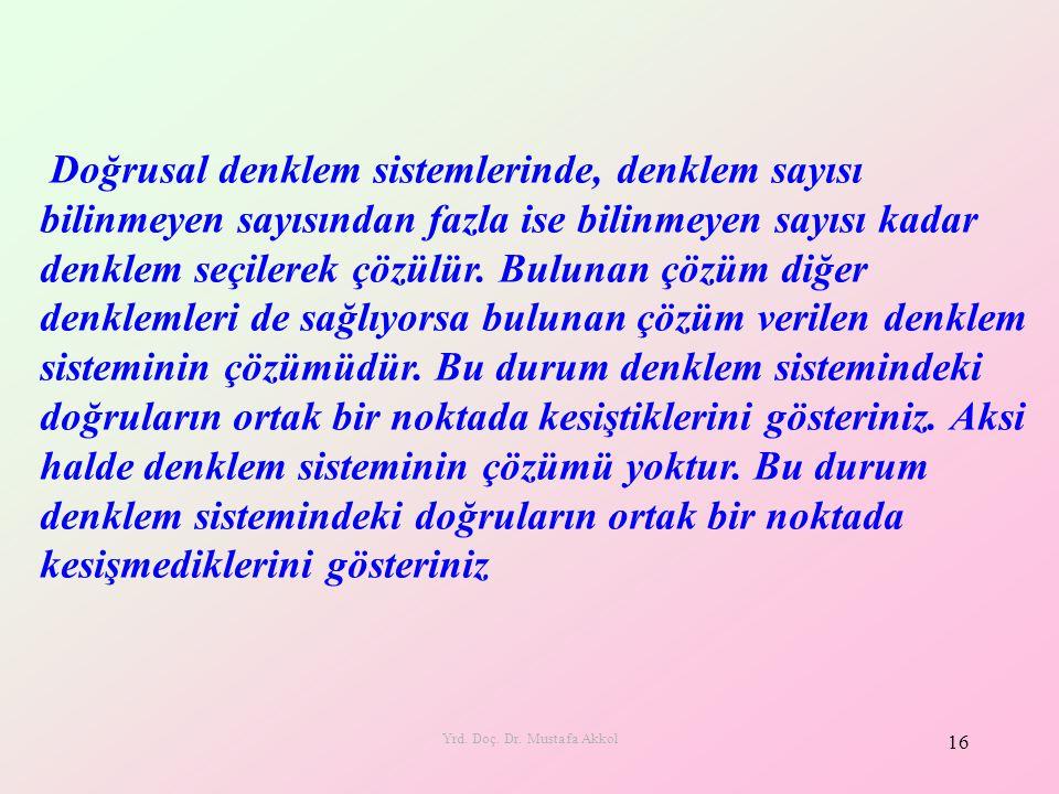 Yrd. Doç. Dr. Mustafa Akkol 16 Doğrusal denklem sistemlerinde, denklem sayısı bilinmeyen sayısından fazla ise bilinmeyen sayısı kadar denklem seçilere