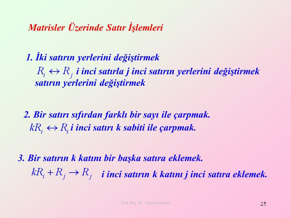 Yrd. Doç. Dr. Mustafa Akkol 25 Matrisler Üzerinde Satır İşlemleri 1. İki satırın yerlerini değiştirmek i inci satırla j inci satırın yerlerini değişti