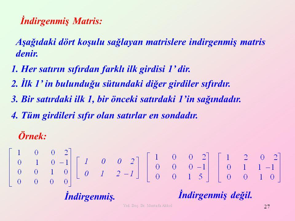 Yrd. Doç. Dr. Mustafa Akkol 27 İndirgenmiş Matris: Aşağıdaki dört koşulu sağlayan matrislere indirgenmiş matris denir. 1. Her satırın sıfırdan farklı