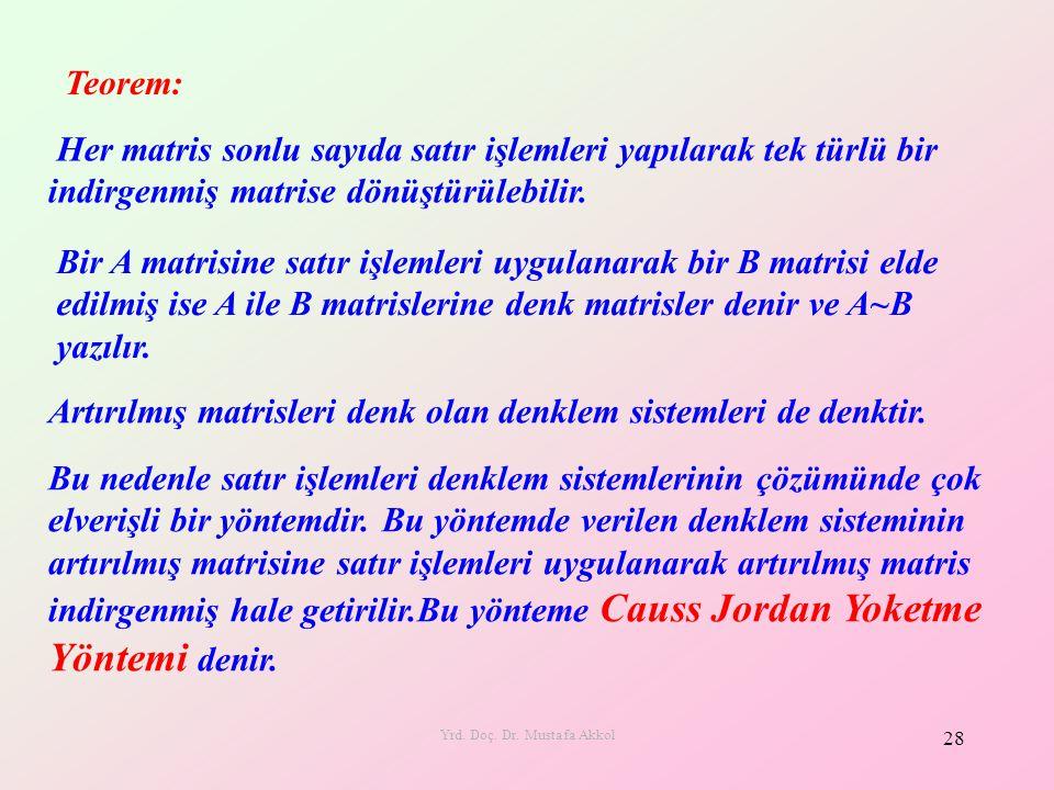 Yrd. Doç. Dr. Mustafa Akkol 28 Her matris sonlu sayıda satır işlemleri yapılarak tek türlü bir indirgenmiş matrise dönüştürülebilir. Teorem: Bir A mat