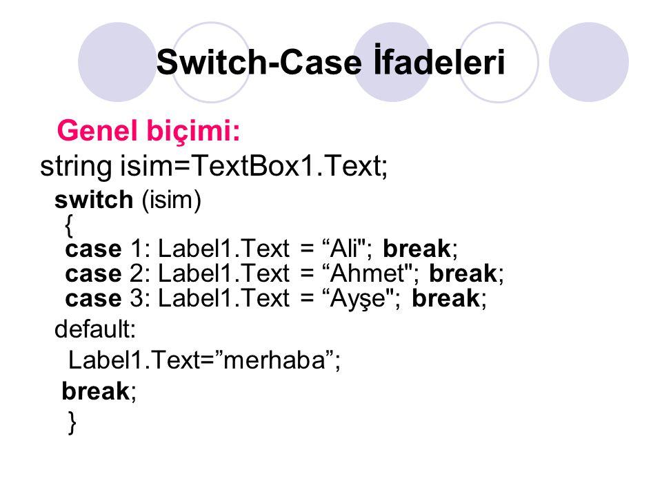 """Switch-Case İfadeleri Genel biçimi: string isim=TextBox1.Text; switch (isim) { case 1: Label1.Text = """"Ali"""