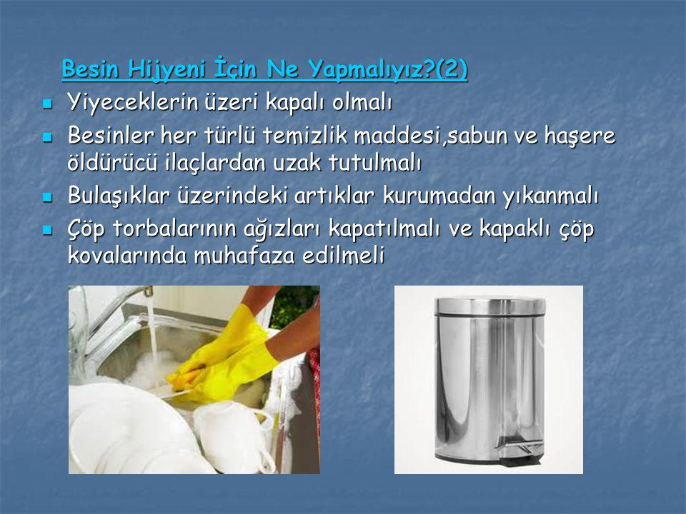 Besin Hijyeni İçin Ne Yapmalıyız?(2) Besin Hijyeni İçin Ne Yapmalıyız?(2) Yiyeceklerin üzeri kapalı olmalı Yiyeceklerin üzeri kapalı olmalı Besinler h