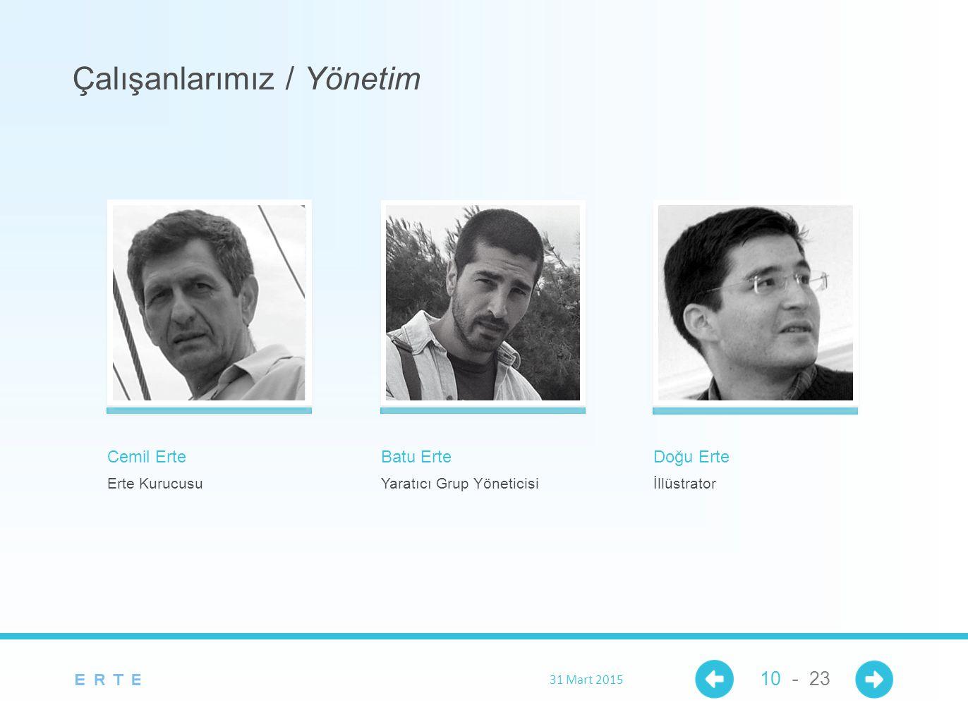 Cemil Erte Erte Kurucusu Çalışanlarımız / Yönetim Batu Erte Yaratıcı Grup Yöneticisi Doğu Erte İllüstrator 31 Mart 2015 10 - 23